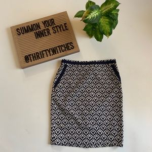 The Limited Navy blue and white patterned skirt